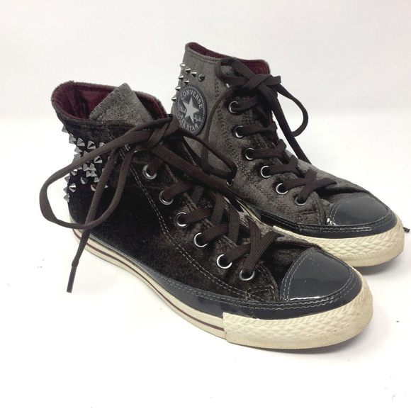 8e225d0b8c0d50 Converse Shoes - Converse Charcoal Gray Velvet Hi Tops Studded Sz 7